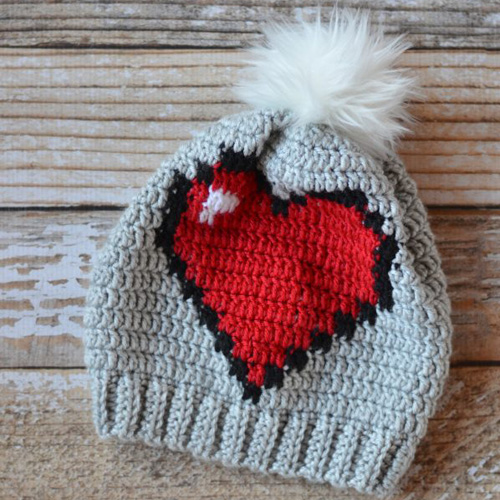 Eight Bit Heart Slouchy - Free Pattern