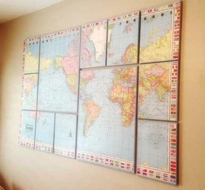 Hiasan dinding ini jadi terlihat seperti pajangan map puzzle.