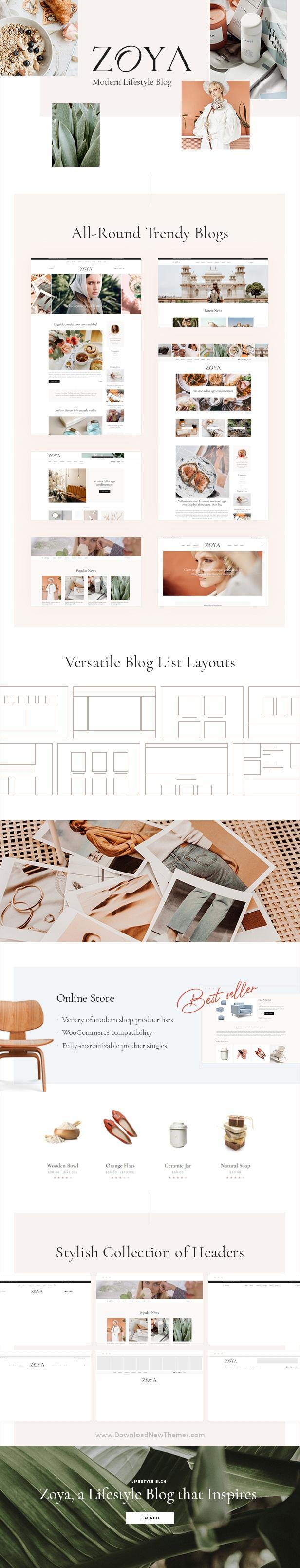 Zoya - Lifestyle Blog Premium WordPress Theme