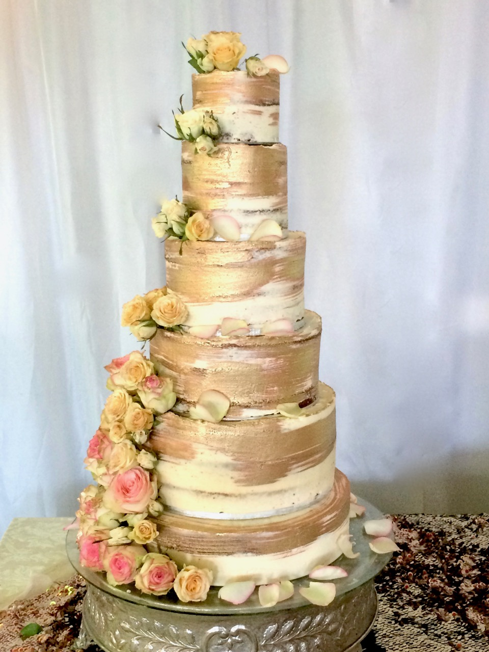 Rozanne\'s Cakes: Six tier gold and white wedding cake