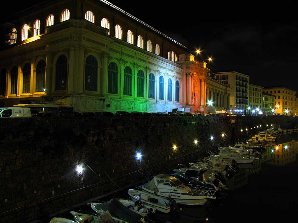 Central Market illuminated by tricolour floodlights, Livorno