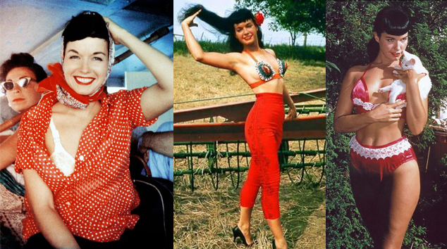 bettie-page-red-clothes-holding-a-cat