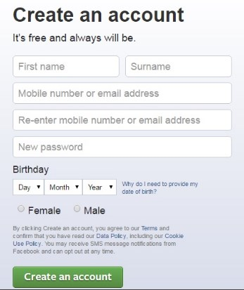 create new facebook account for new user