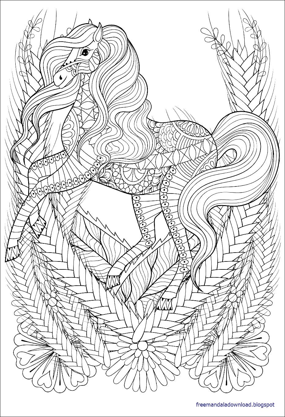Malvorlagen Pferd Mandala - Free Mandala