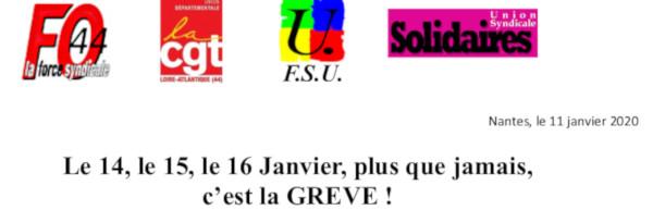 RETRAITES : GRÈVES ET MANIFESTATIONS 14, 15 ET 16 JANVIER 2020