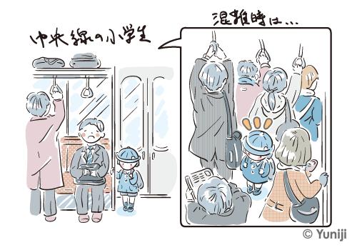 中央線の電車に乗る私立の小学生