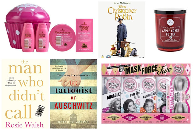 Collage - Lee Stafford, DW Home candles, Soap and Glory, Christopher Robin