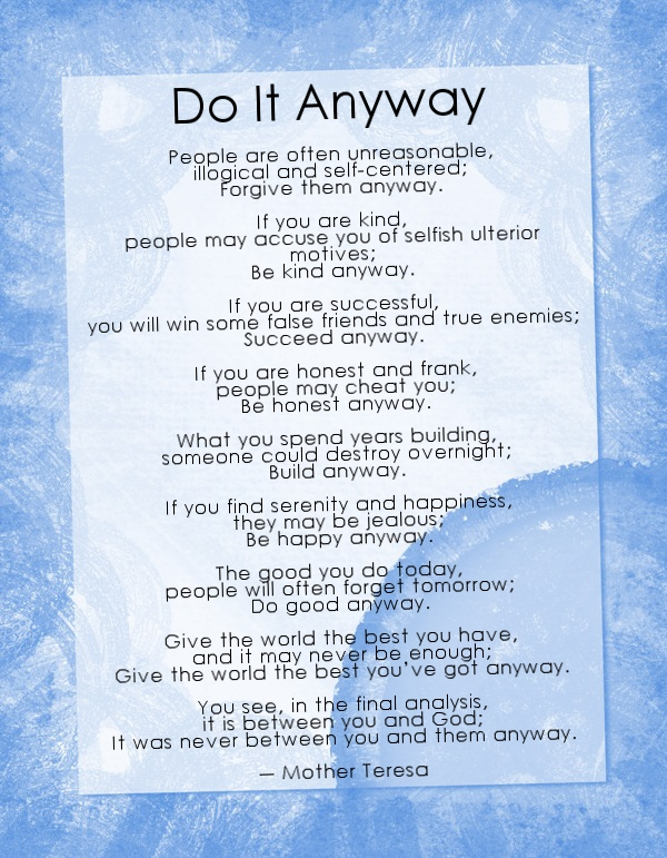 Realization do it anyway by mother teresa do it anyway by mother teresa thecheapjerseys Gallery