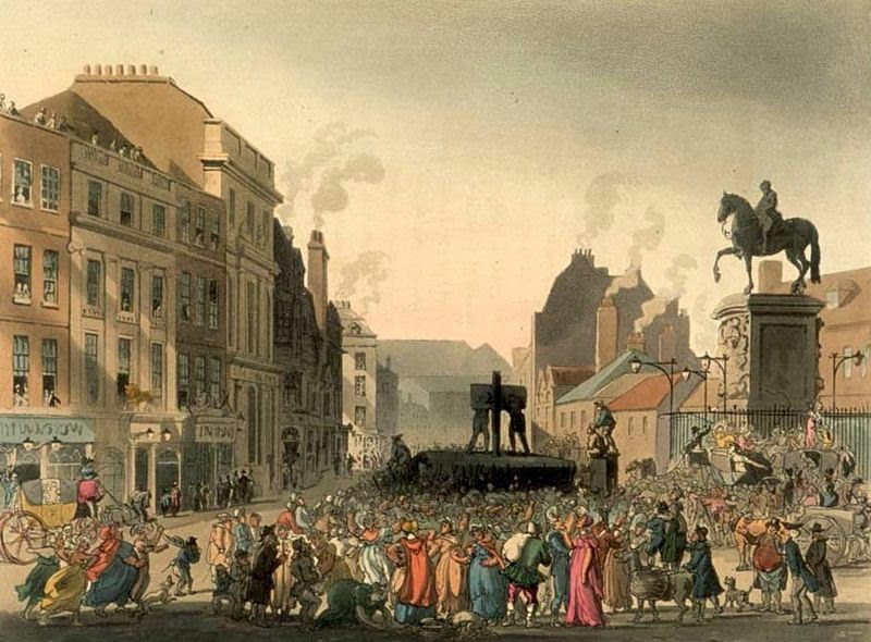 The pillory at Charing Cross in London, c. 1808.