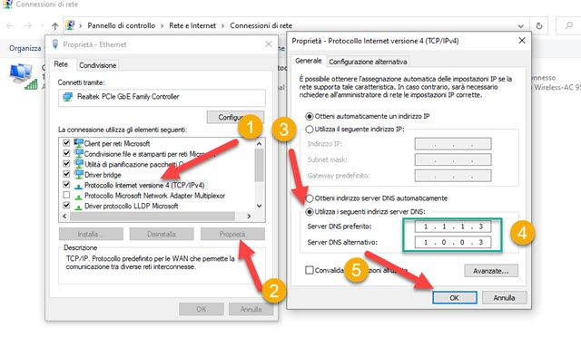 modificare i dns nel protocollo internet versione 4