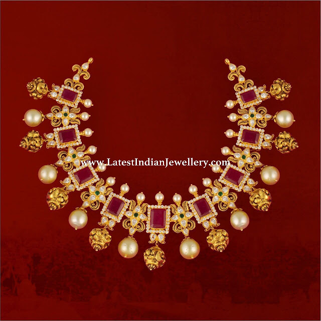 Exquisite Nakshi Drops Ruby Necklace