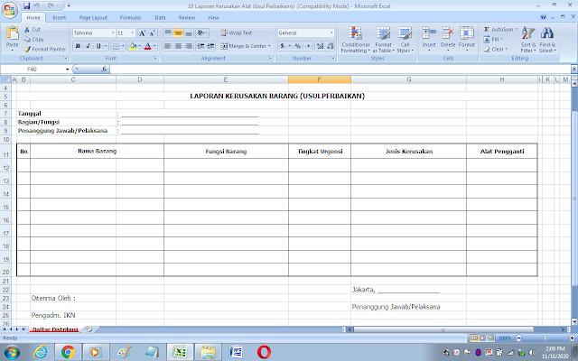 Format laporan kerusakan alat dan usul perbaikan inventaris sekolah