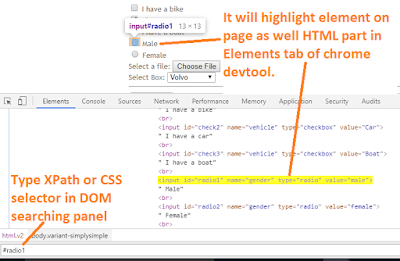 evaluate XPath or CSS selector in chrome dev tool
