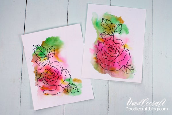 Make Watercolor Wash Valentine cards using Tombow Dual Brush Pens.