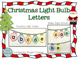 Christmas Light Bulb Letters, sight words, alphabetical order