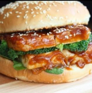 Vegan General Tso's Tofu Sandwich