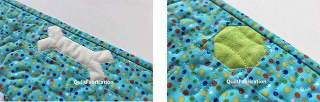 dog bone and tennis ball in fabric