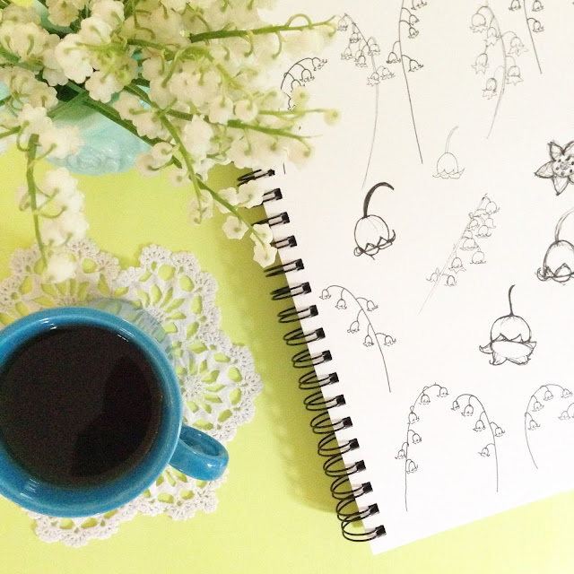 sketchbooks, lily of the valley, tea, doily, Anne Butera, My Giant Strawberry