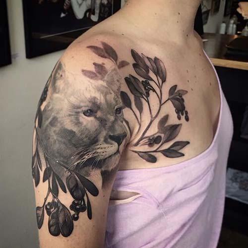 vahşi kedi kadın omuz dövmeleri wild cat woman shoulder tattoos