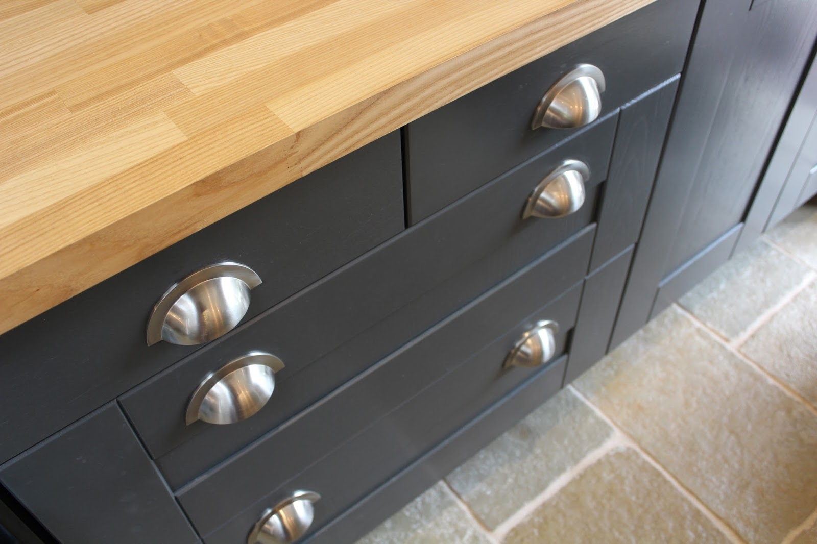 Satin Nickel Cup Drawer Handles in Kitchen