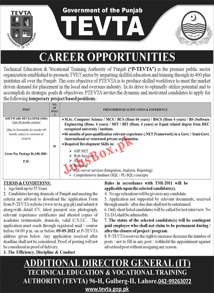 TEVTA Jobs 2021 in Punjab   Latest Advertisement by TEVTA   By Naya Pakistan Job