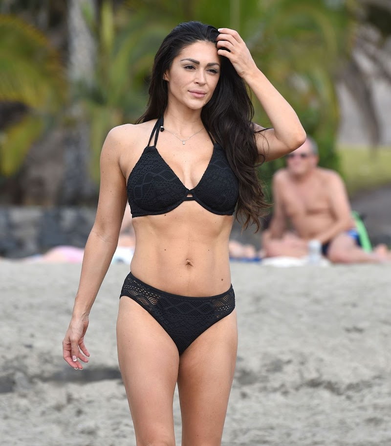 Casey Batchelor  in Black Bikini Filming Her Fitness App in Tenerife 3 Nov-2020