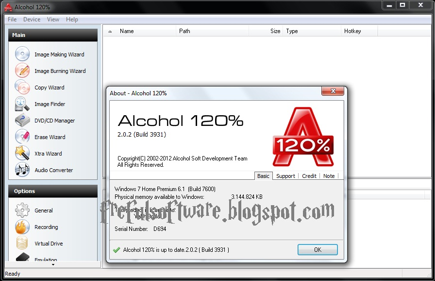Alcohol 120 with serial key
