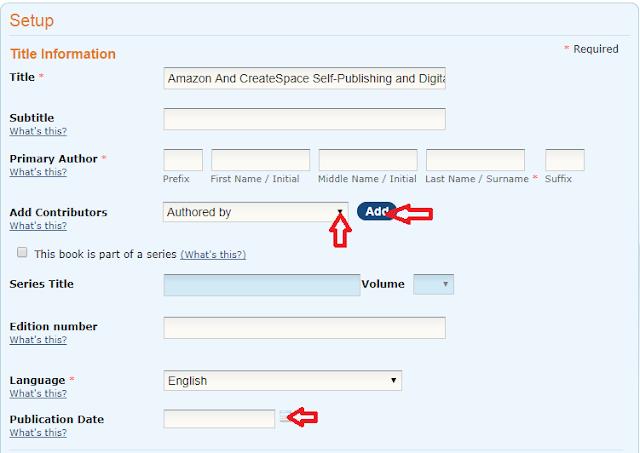 screenshot of createspace title information setup