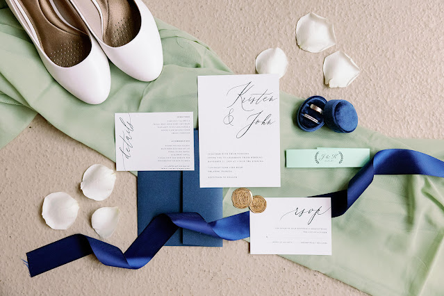 green and navy wedding invitation design