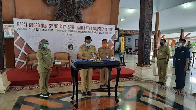 Evaluasi Smart City, SPBE, dan Forum Data, Pemkab Blitar Launching Aplikasi Blitar Smart Regency