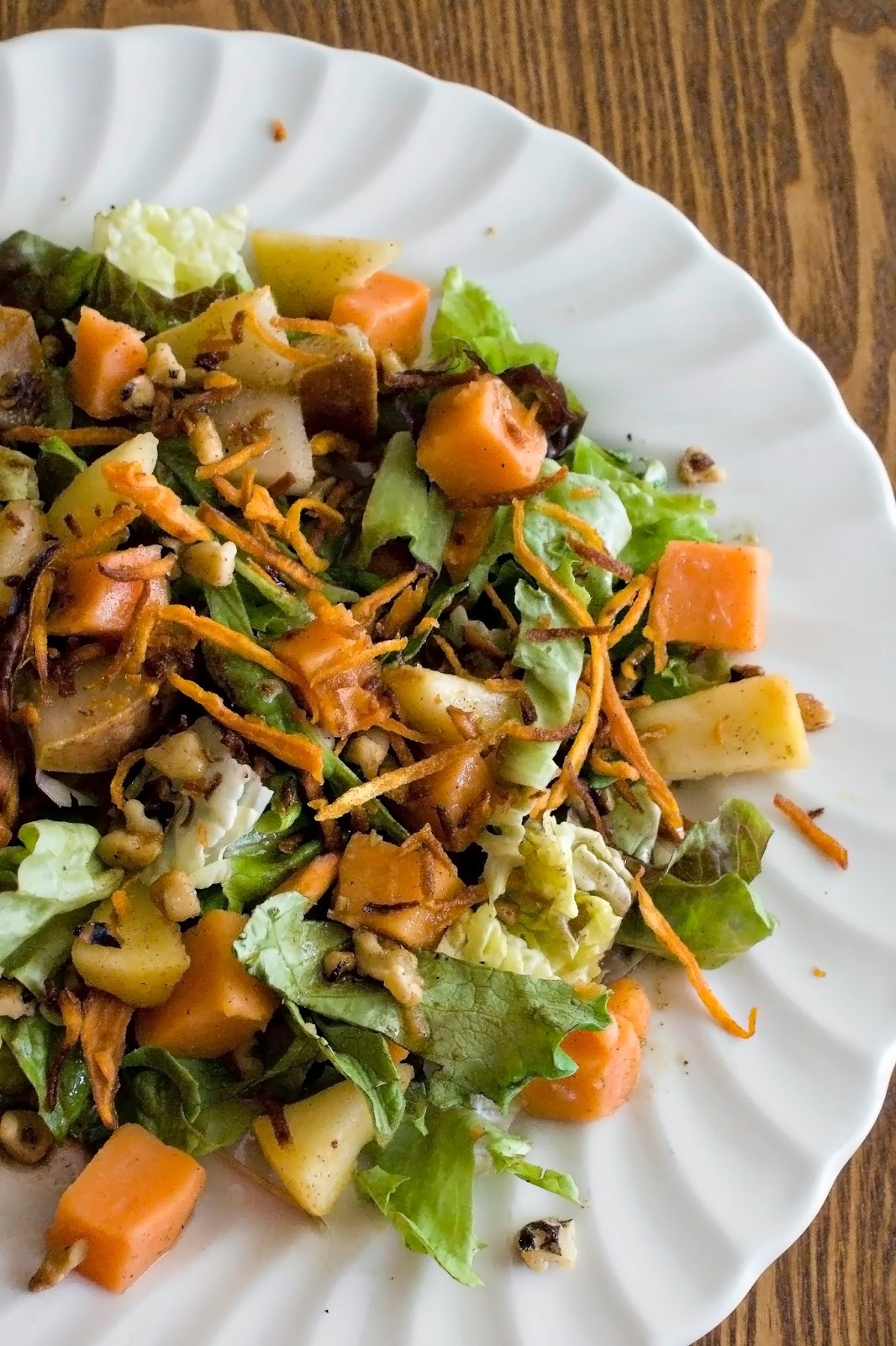 Sweet Potato-Pear Salad with Walnuts and Potato Crisps