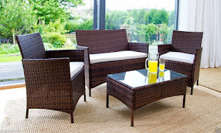 Offer rattan garden furniture set 4 piece chairs sofa table outdoor £98.00