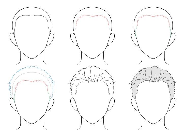 Anime menyisir kembali gambar rambut pria selangkah demi selangkah
