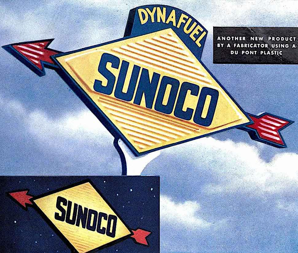 a 1948 Sunoco gasoline sign, a color photograph