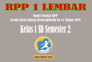 RPP 1 Lembar SD Kelas 1 Semester 2