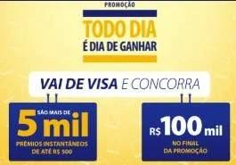 Cadastrar Nova Promoção Visa Prêmios 500 Reais e 100 Mil - Todo Dia é Dia Ganhar