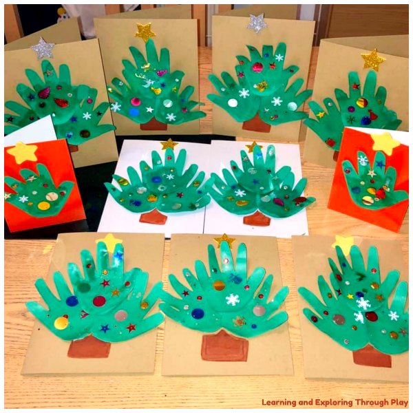 Hand Print Christmas Tree Cards