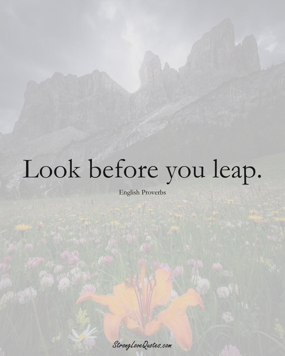 Look before you leap. (English Sayings);  #EuropeanSayings