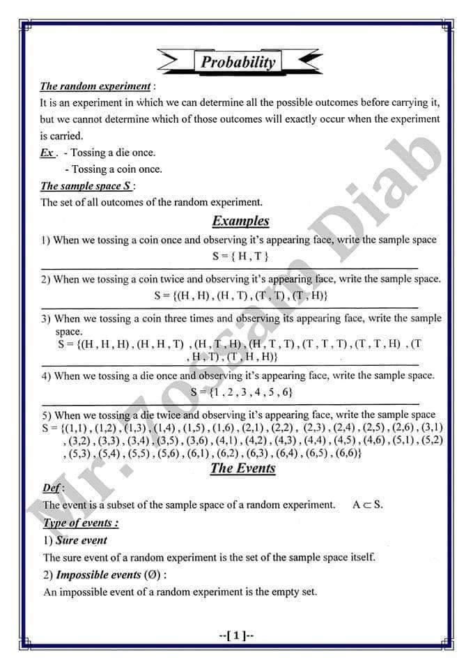 مراجعة الاحصاء باللغة الانجليزية للصف الثالث الثانوي أ/ صلاح صالحي 1