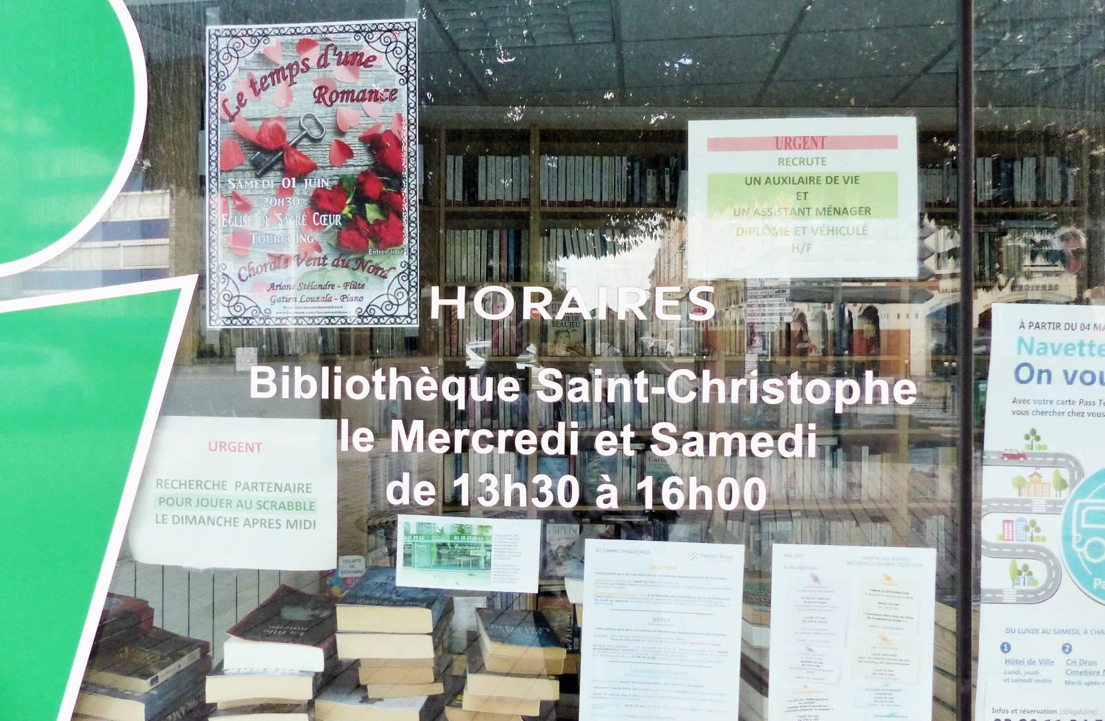 Horaires d'ouverture Bibliothèque St Christophe, Tourcoing