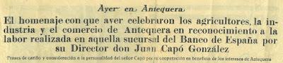 Homenaje a Juan Capó en Antequera en 1935, cabecera del periódico de Antequera