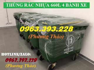 Thùng rác nhựa 660L có 4 bánh xe, thùng rác nhựa công nghiệp các loại