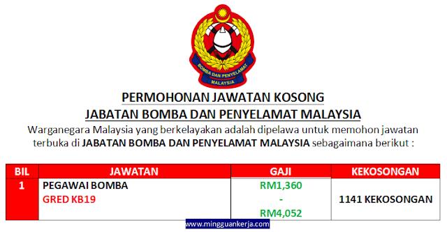 1141 Kekosongan Jawatan Pegawai Bomba Gred KB19 Ditawarkan di Jabatan Bomba dan Penyelamat Malaysia Sehingga 08 Disember 2019