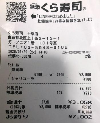 くら寿司 十条店 2020/1/29 飲食のレシート