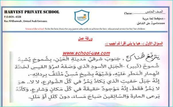 ورقة عمل درس حوت على الشاطىء  لغة عربية للصف الخامس الفصل الاول -مناهج الامارات