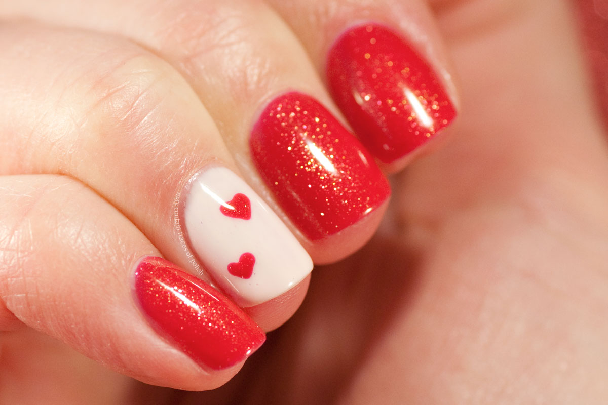 Simple Gel Valentine's Day Nail Art with Pink Gellac Rockstar Red