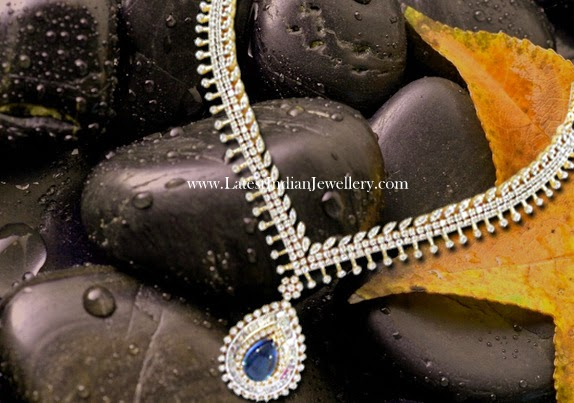 Diamond Necklace with Blue Gemstone