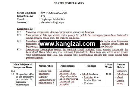 Silabus kelas 5 kurikulum 2013 terbaru revisi 2017 2018 2019 2020 Tema 8 www.kangizal.com