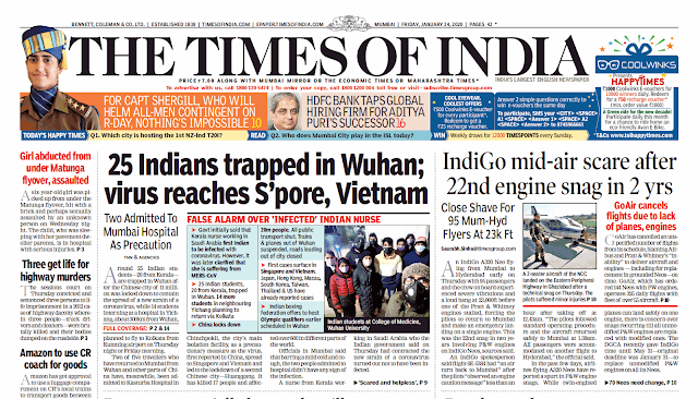 Times Of India Epaper 24th January 2020