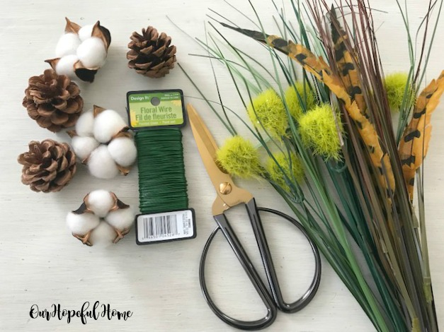 cotton boll pine cone feather dianthus floral wire scissors
